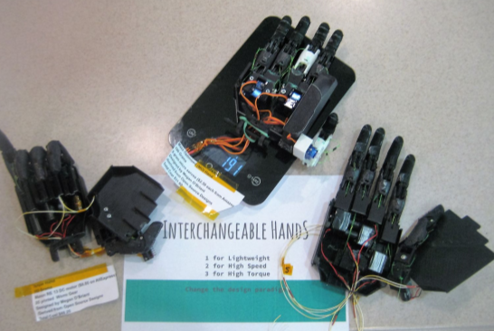 Picture of Three Low Cost Interchangeable 3-D Printable Bionic Hands