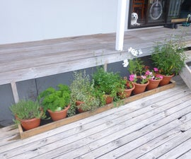 Make a pot trough for saving water on your deck