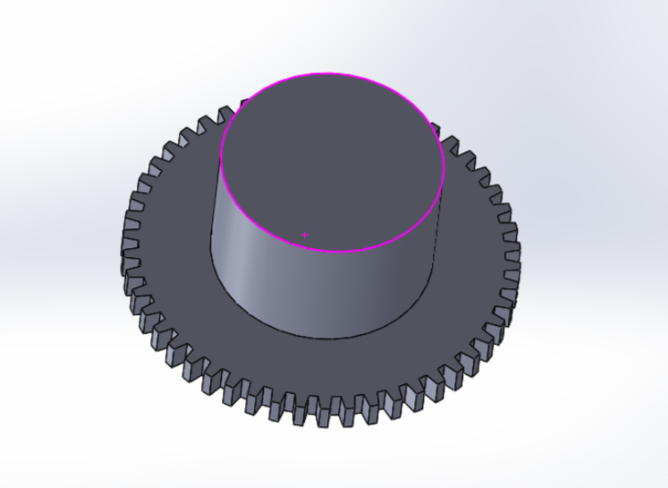 """Picture of Sketch a New 30mm Diameter Circle on the Top Face of the Existing Part, and Extend That Circle Up for 19mm Using """"Extrude Base"""""""