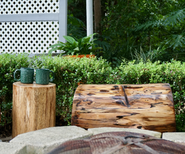 Log and Concrete Fire Pit Benches