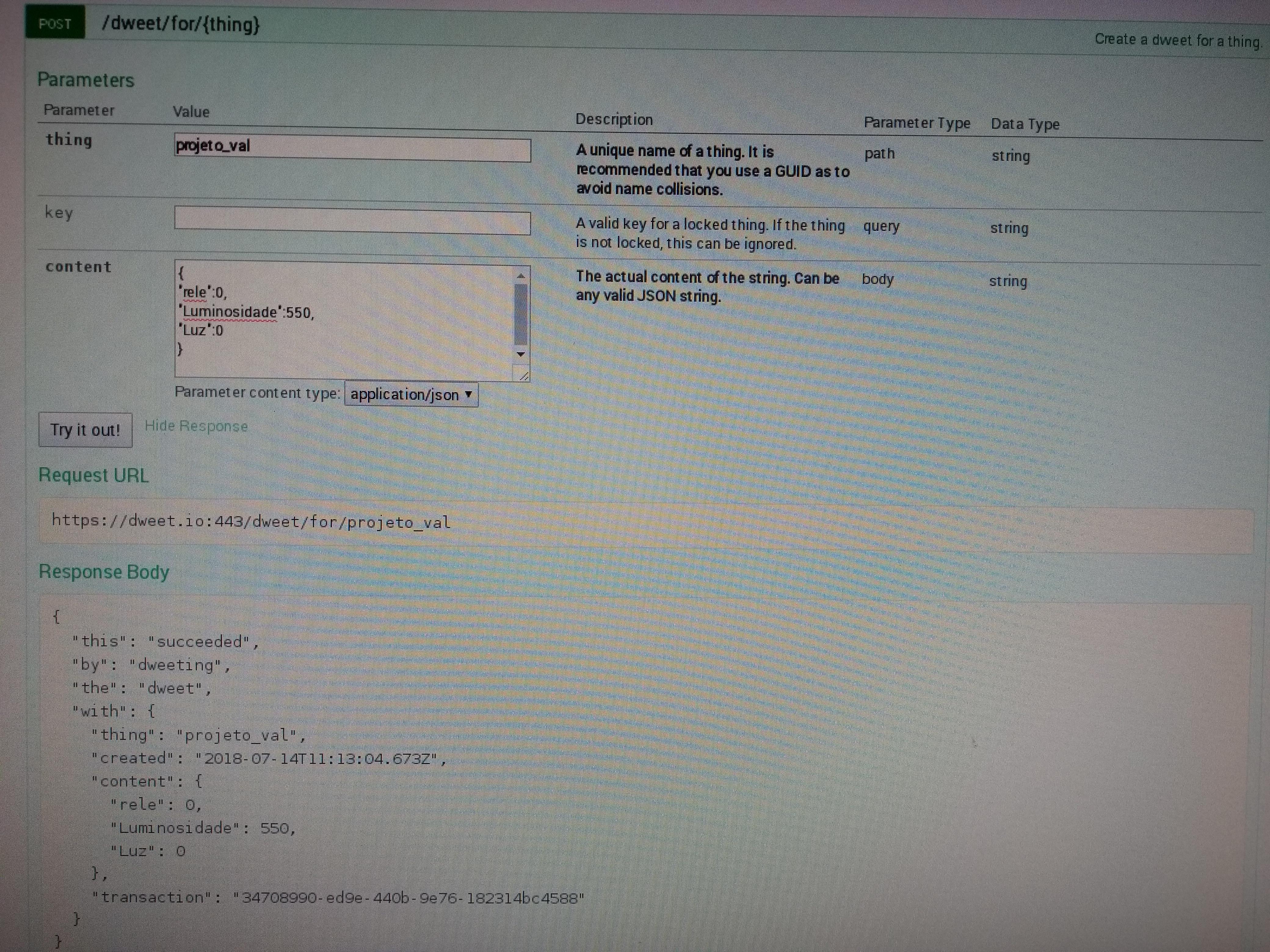 Picture of Configuração Do Site Dweet