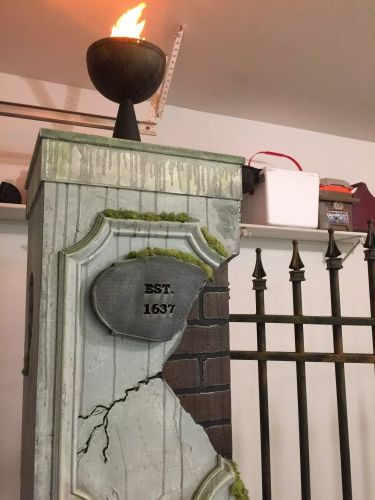 Picture of How to Build Halloween Cemetery Entrance Pillars & Gate