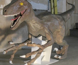 Velociraptor Statue and T-Rex Head