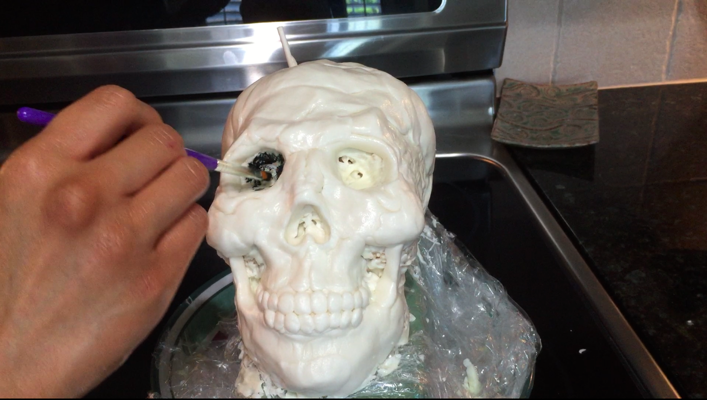 Picture of Allow the Skull to Set in the Fridge, Then Paint Details Onto the Skull With Black Icing Color (set the Skull in the Fridge When Done)