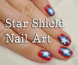 4th of July Star Shield Nail Art