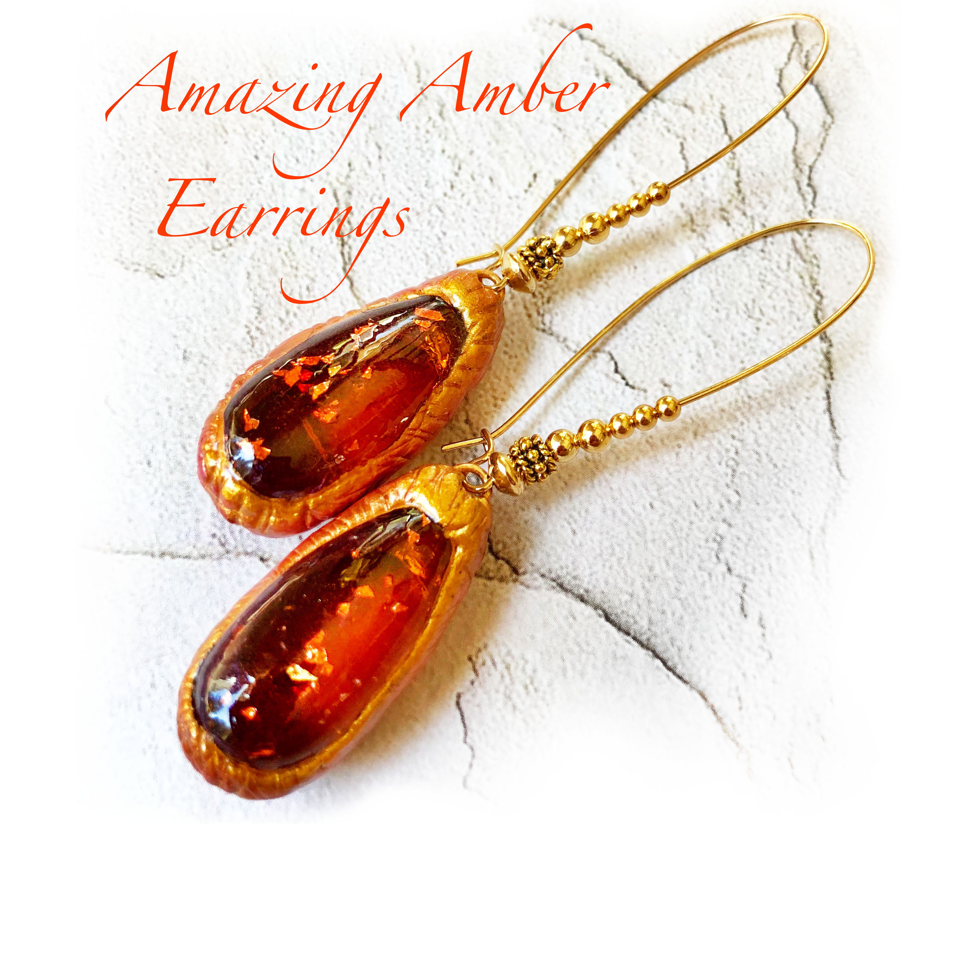 Picture of Orange & Gold - Beautiful Amber Tear Drop Earrings