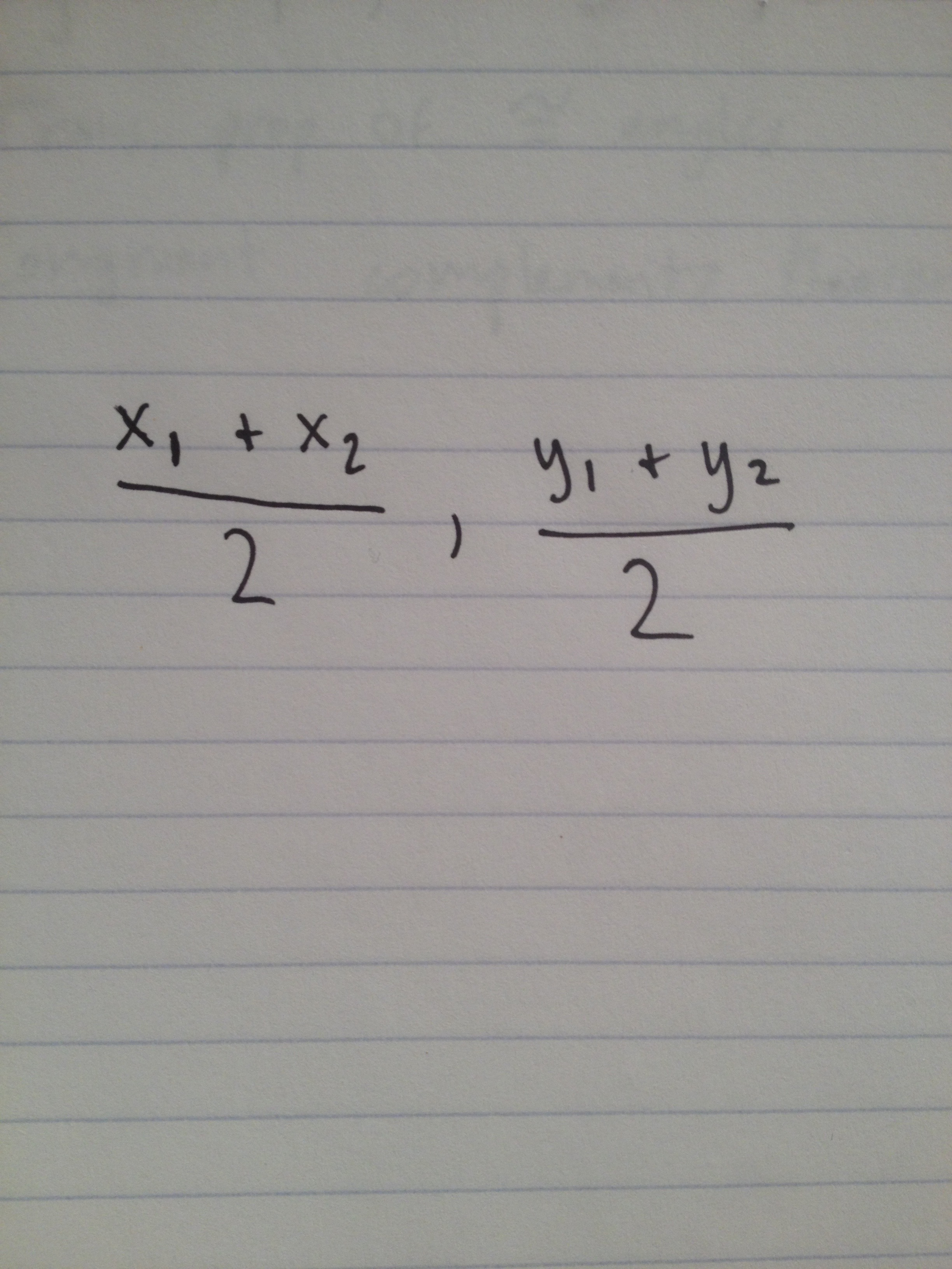Picture of Midpoint Formula