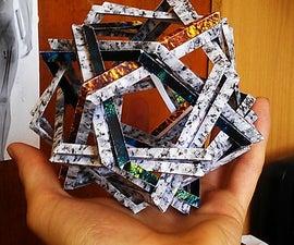 Double Makalu - Origami Scupture: 12 woven pentagons (no glue)