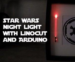 Star Wars Night Light With Linocut and Arduino