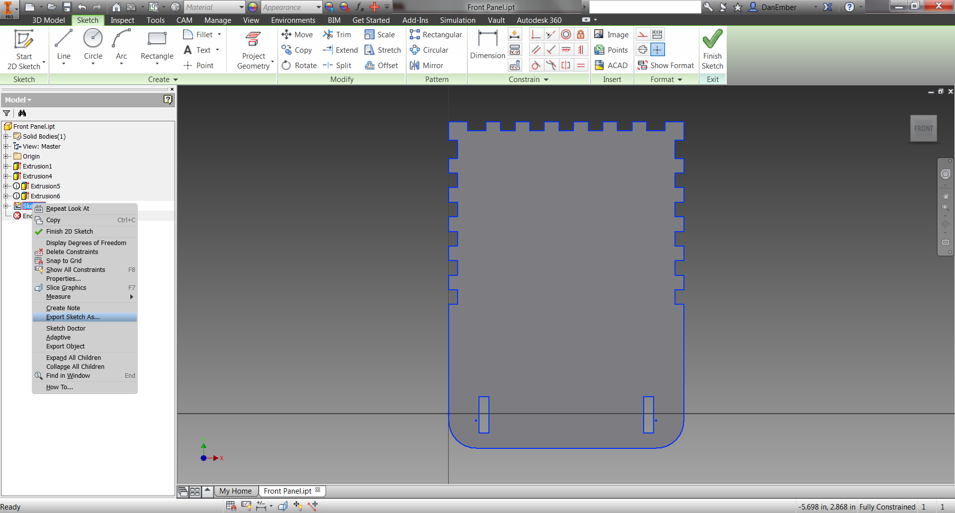 Picture of 3D Model Back to DXF