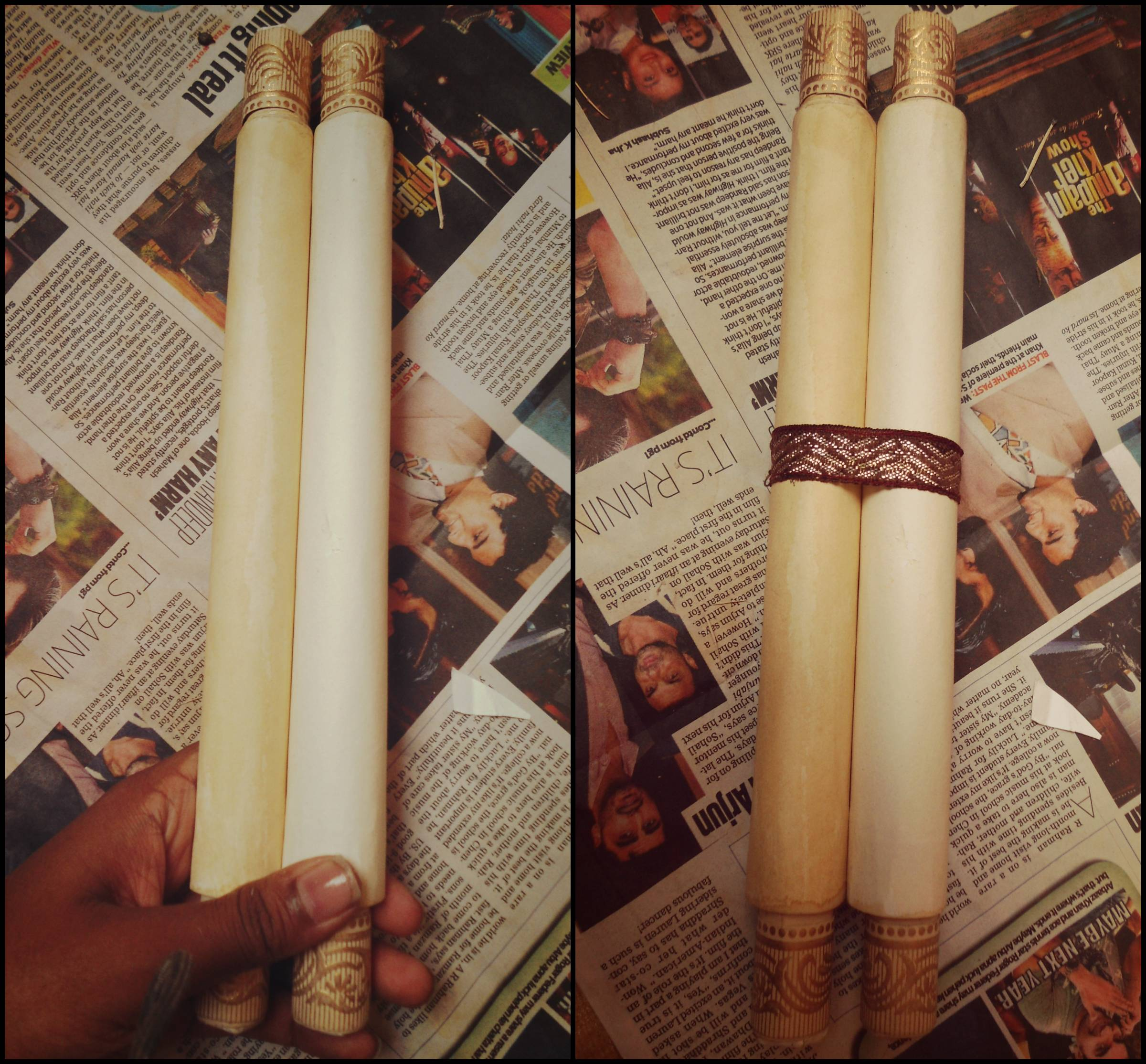 Picture of Roll Up the Invitation by Rolling Both Sticks Toward the Center Until They Meet.