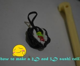How to Make 2D and 3D Sushi Roll Loom Band Charm?