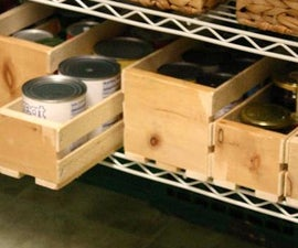 Slat Boxes for Canned Food on Wire Rack
