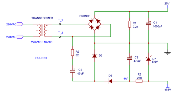 Rectifier With a Negative Rail
