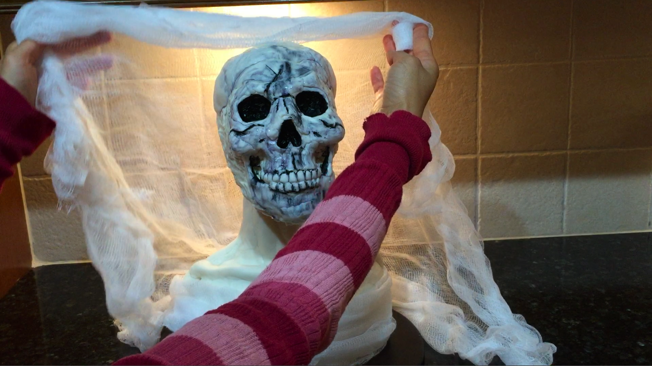 Picture of Fold a Sheet of Cheesecloth in Half and Use As a Veil for the Bust