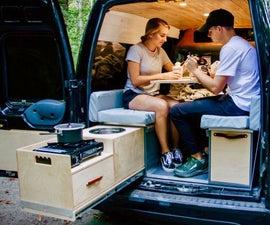 DIY Camper Van Kitchen With Sink and Propane Stove #VANLIFE