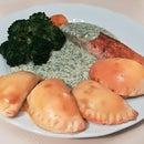 Salmon Filet With Dill Sauce and Mushroom Dumplings