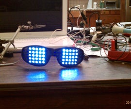 FUNKY RAVE GLASSES (LED MATRIX GLASSES USING A PICAXE)