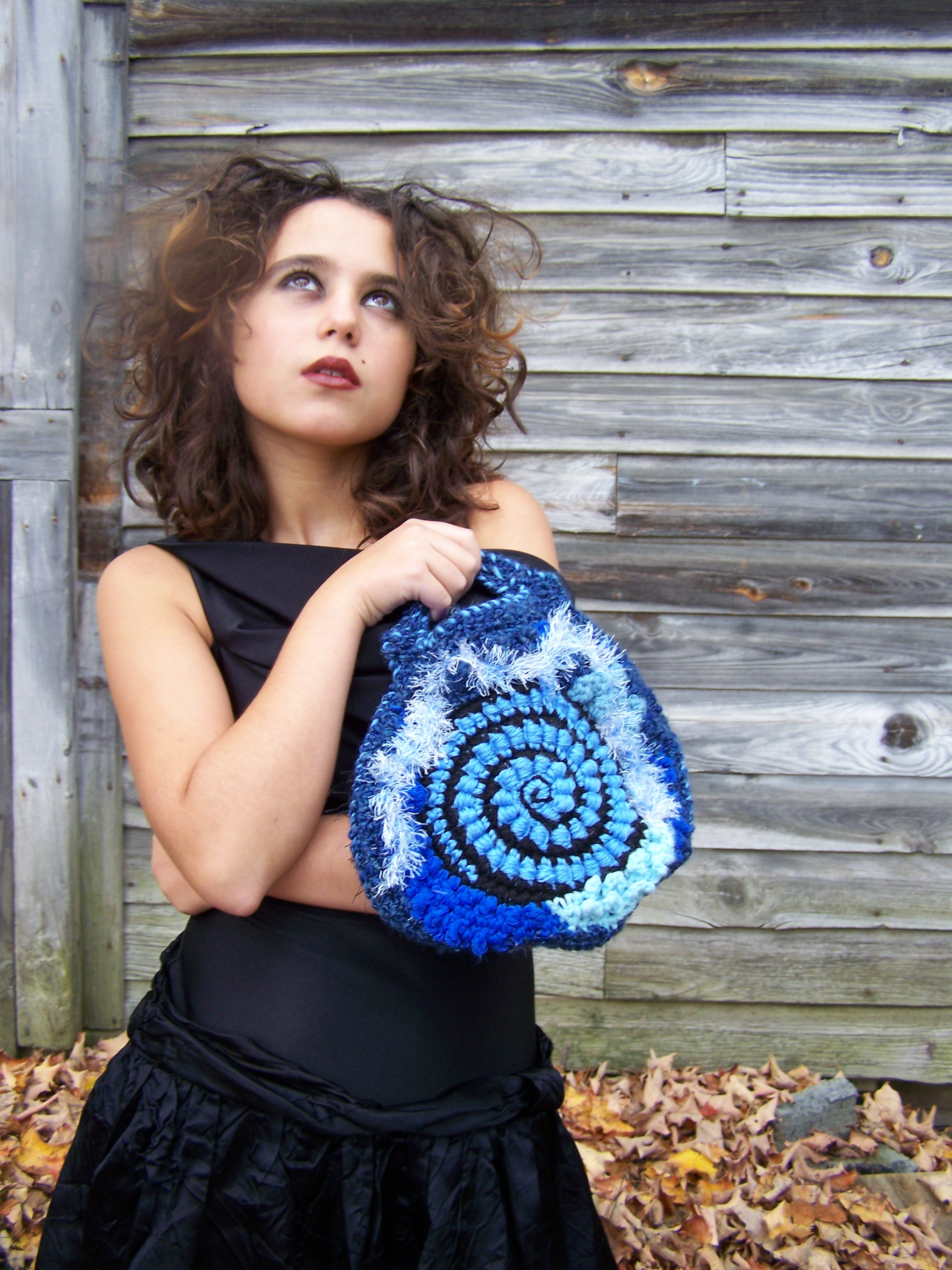 Picture of Blue Freeform Crochet Clutch