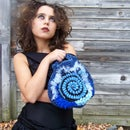 Blue Freeform Crochet Clutch