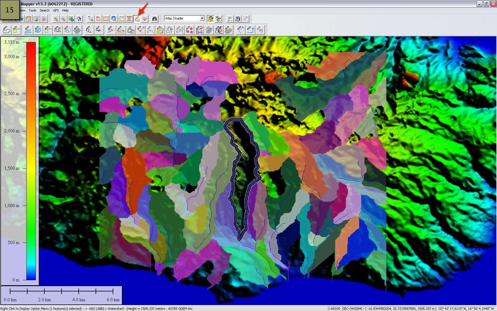 Picture of Generate the Watersheds and the Contours - Global Mapper