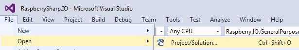Prepare Visual Studio: Raspberry Sharp IO Solution