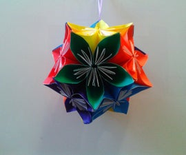 Rainbow Origami Kusudama Ball Mobile