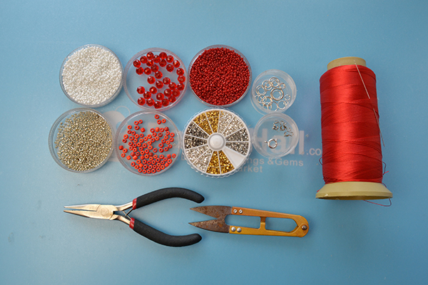 Picture of Supplies Needed to Make This Beaded Choker Necklace: