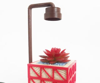 Designing a Customizable Desk Planter With LED Using Tinkercad