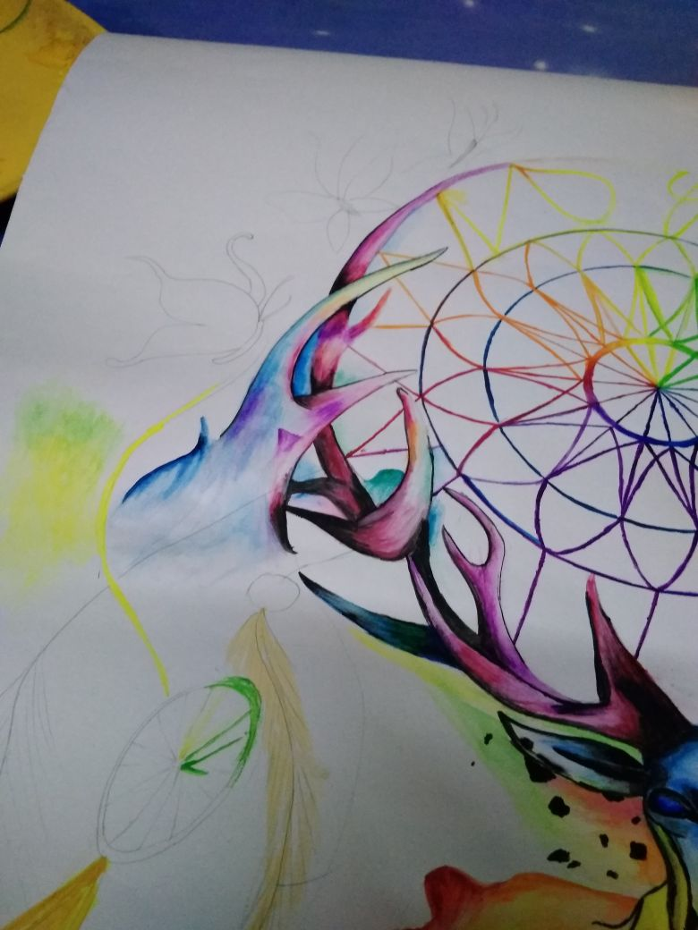 Picture of Coloring the Antlers and Butterflies