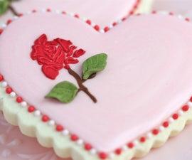 Stencilling on Cookies - Rose Valentine Cookie