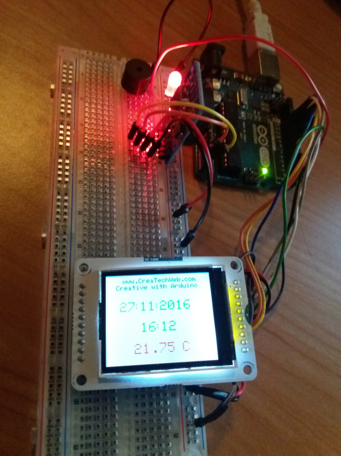 Picture of Temperature Alarm and Time on a LCD Screen With a DS3231, Buzzer AndLED