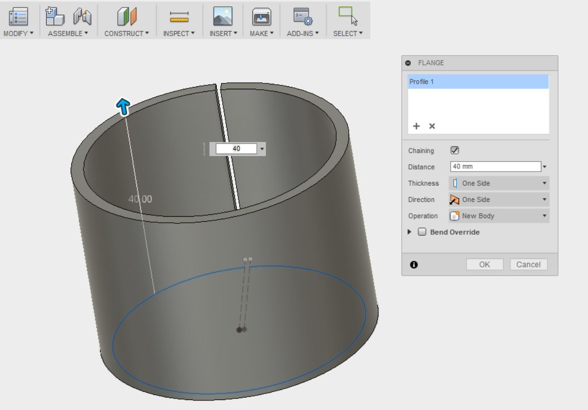 Picture of Enter Sheet Metal & the Flange Tool