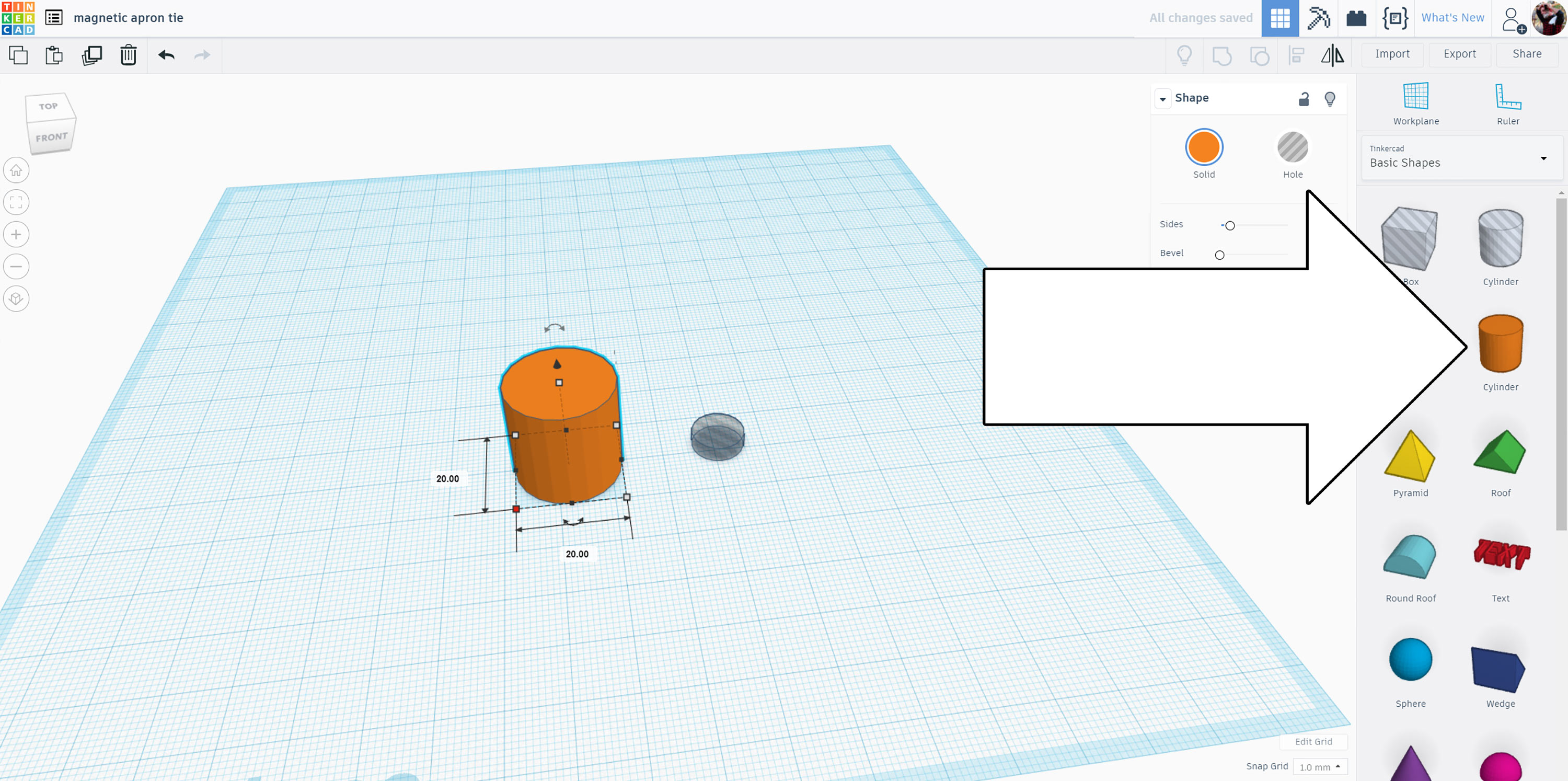 Picture of Open Tinkercad + Place Shapes