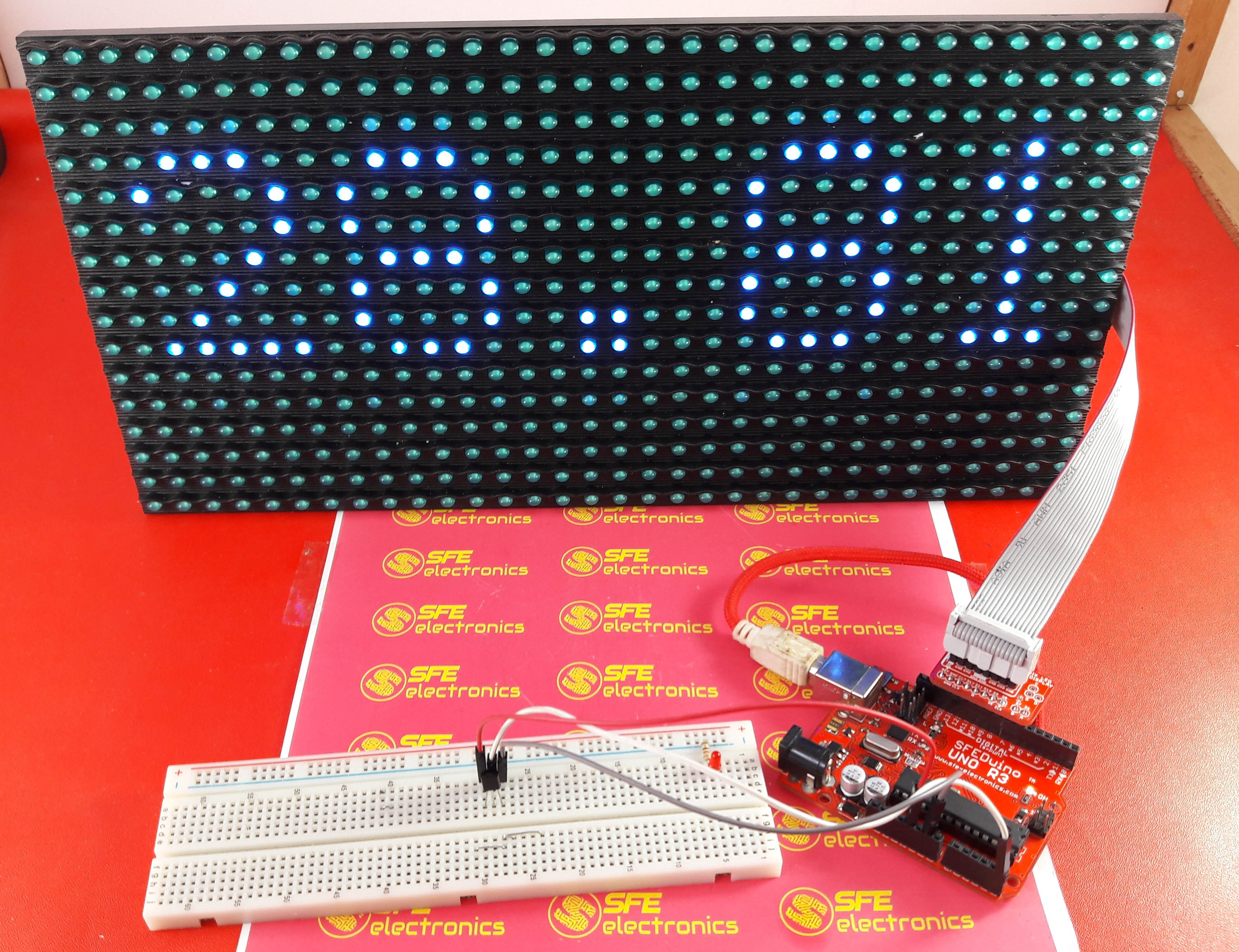 Picture of Display Temperature on P10 LED Display Module Using Arduino