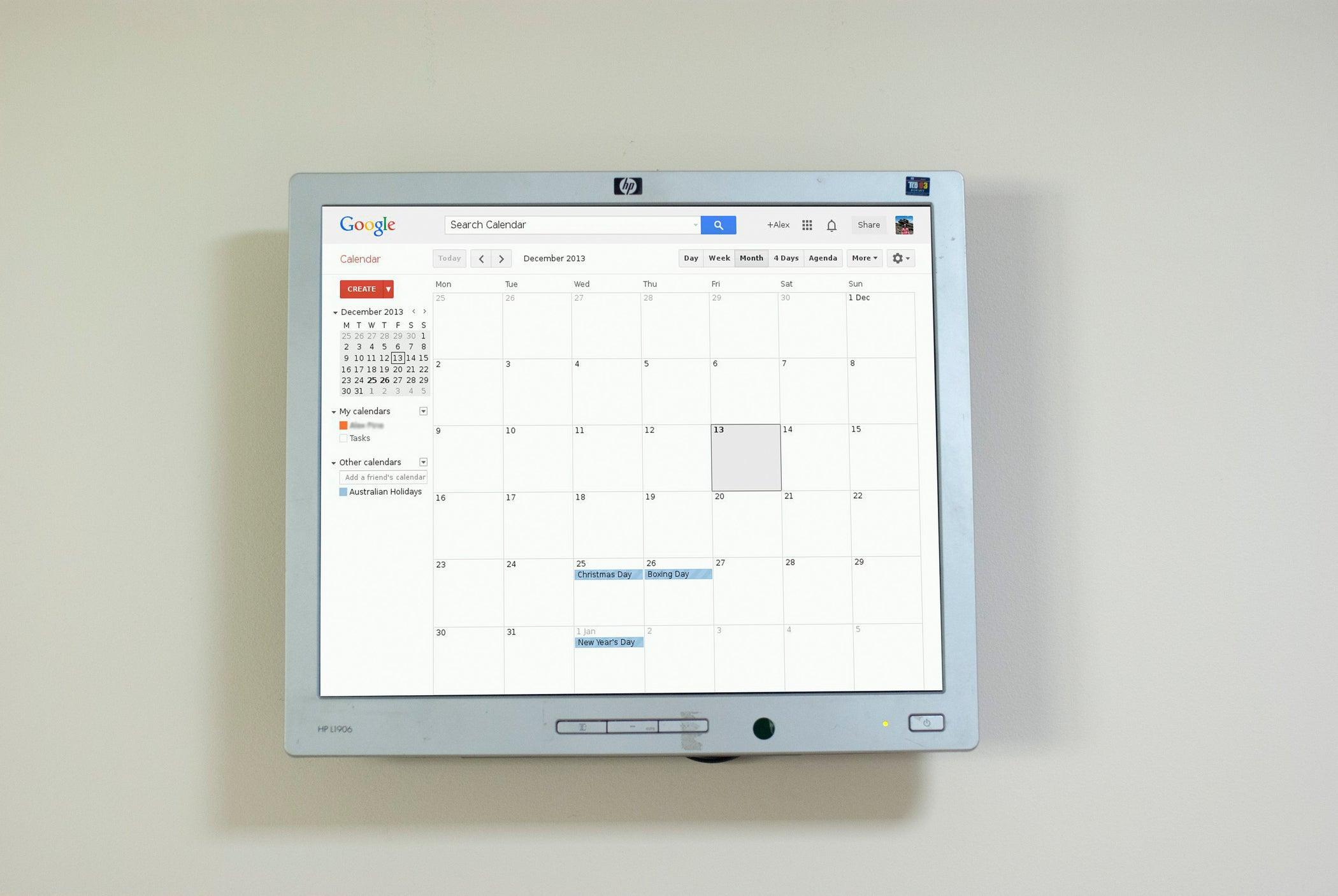 Raspberry Pi Wall Mounted Google Calendar