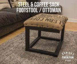 Steel & Coffee Sack Footstool / Ottoman