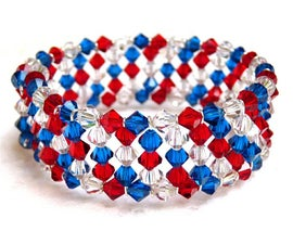 4th of July Crystal Memory Wire Bracelet
