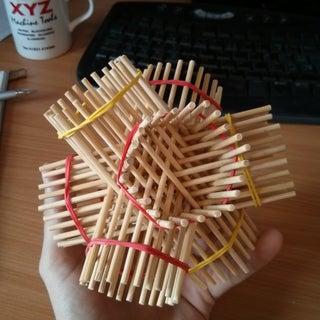 Geometric Sculpture From 72 Pencils