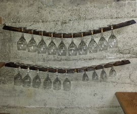 Old barrel wine glasses holder