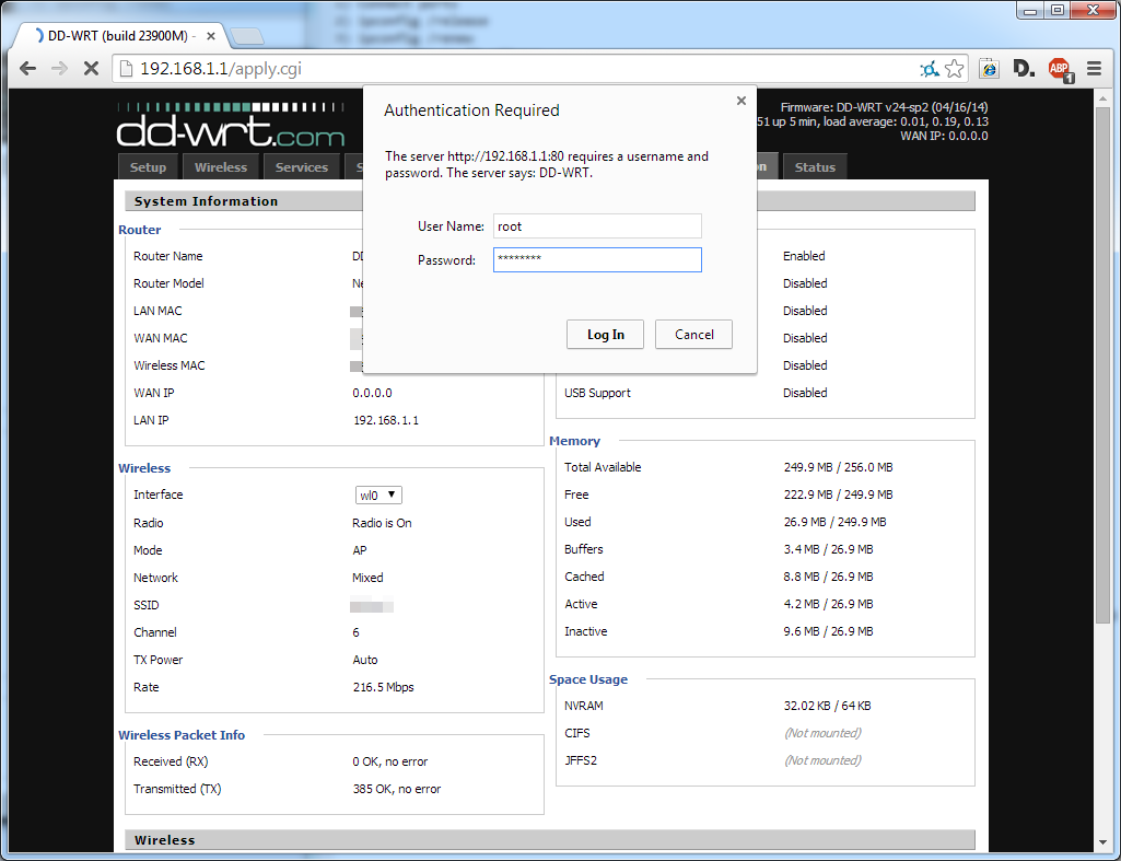 Picture of Login to the DD-WRT Control Panel