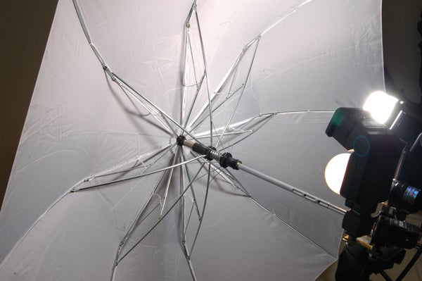 Homemade Studio Strobe Rig With Umbrella Clamp and Modeling Light.