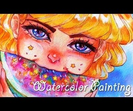 Star Watermelon - Watercolor Painting Process