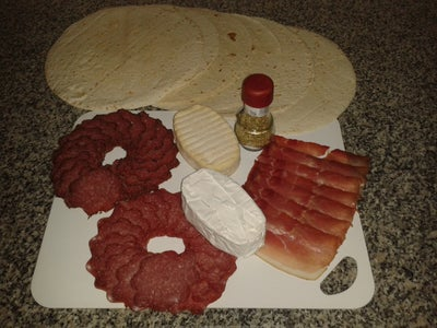 Geramont,  Salami & Smoked Ham Tortilla Pizza Cake Recipe