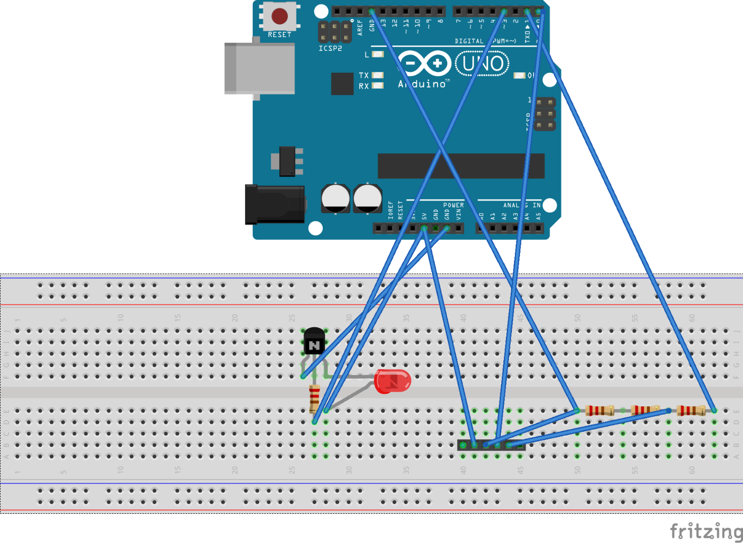 Picture of Circuit (Please Ignore Resistance Values in Fritzing Image)
