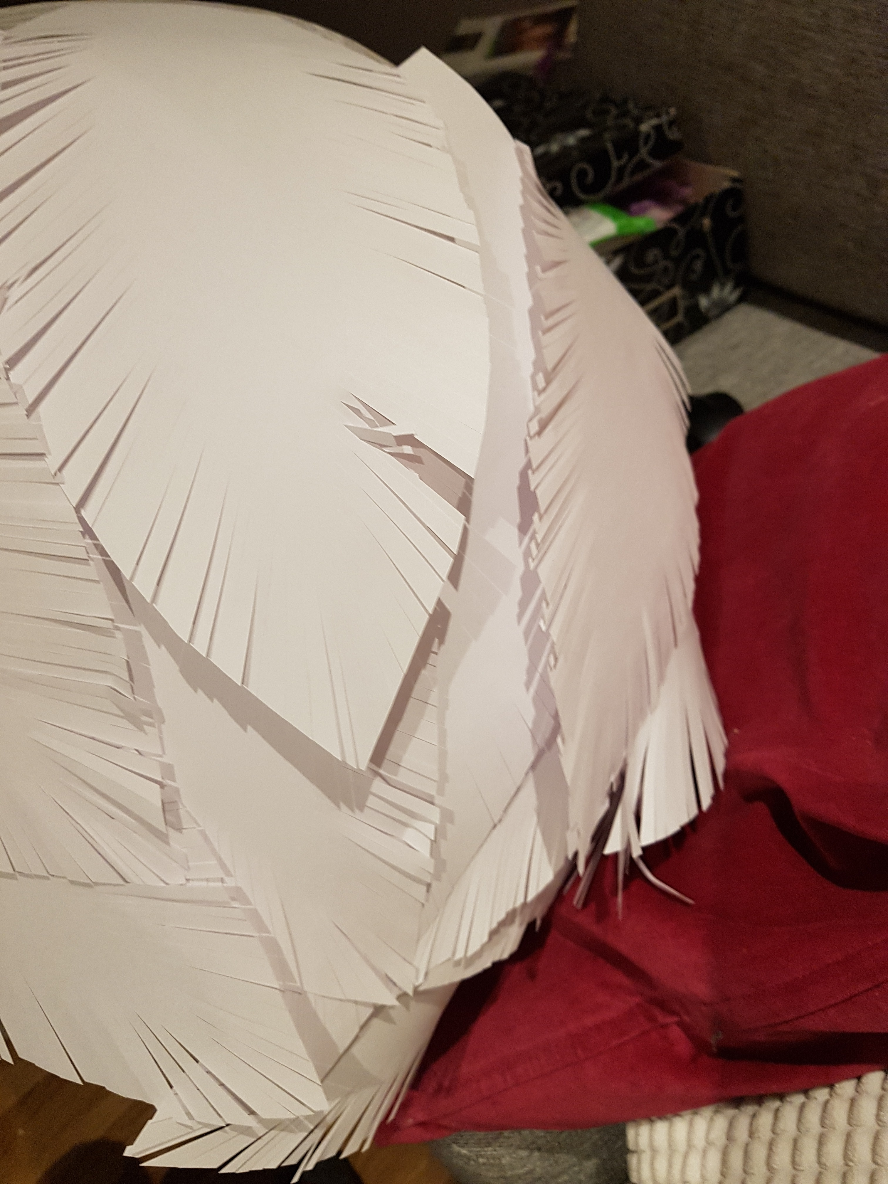 Picture of Glue Feathers on to the Lamp