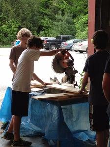Cutting Lumber on Mitre Saw