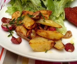 Roasted radishes & white potato wedges served with a fresh chives dressing