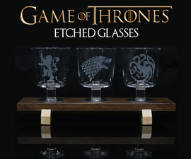 Game of Thrones Etched Glasses With Custom Wooden Stand