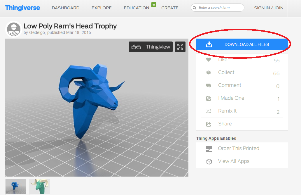 Picture of Find the 3D Model on Thingiverse